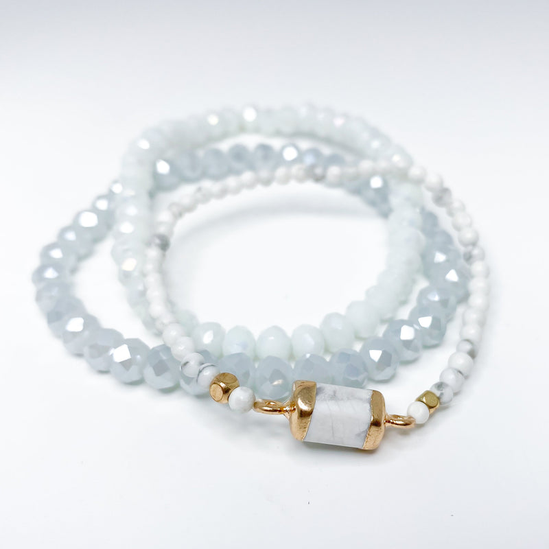 bracelet set, stack, faceted stones, white, gold, blue, neutral, stretchy