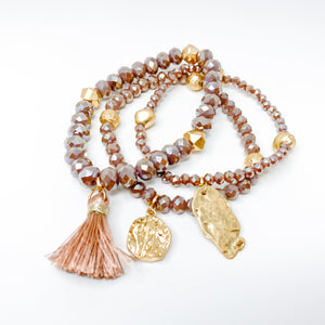 taupe, mauve faceted stones, tassel, gold charms, bracelet stack, set, arm candy, stretchy