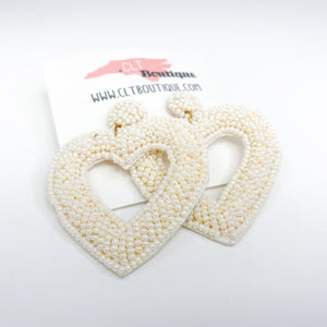 Pearl Seed Bead Heart Earrings