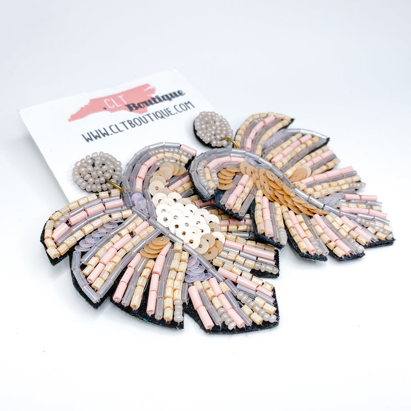 pink Palm Leaf Seed Bead Statement Earrings