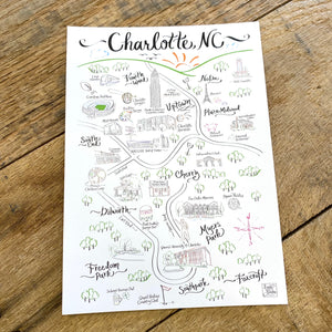 Charlotte Map Postcards