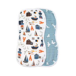 Nautical + Seagulls Oh-So-Soft Muslin Burp Cloths - CLT Boutique