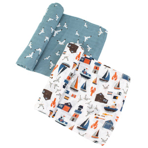 Nautical + Seagulls Oh-So-Soft Muslin Swaddle Blanket Set