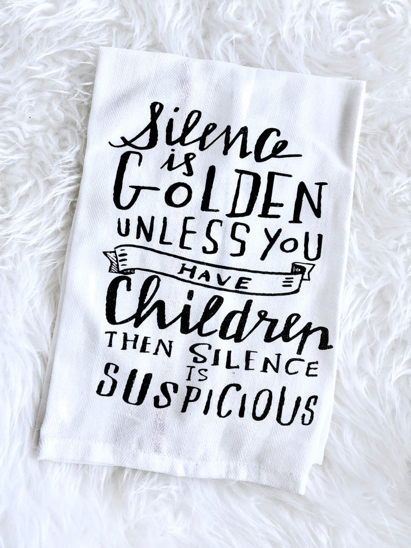 Silence is Golden Tea Towel