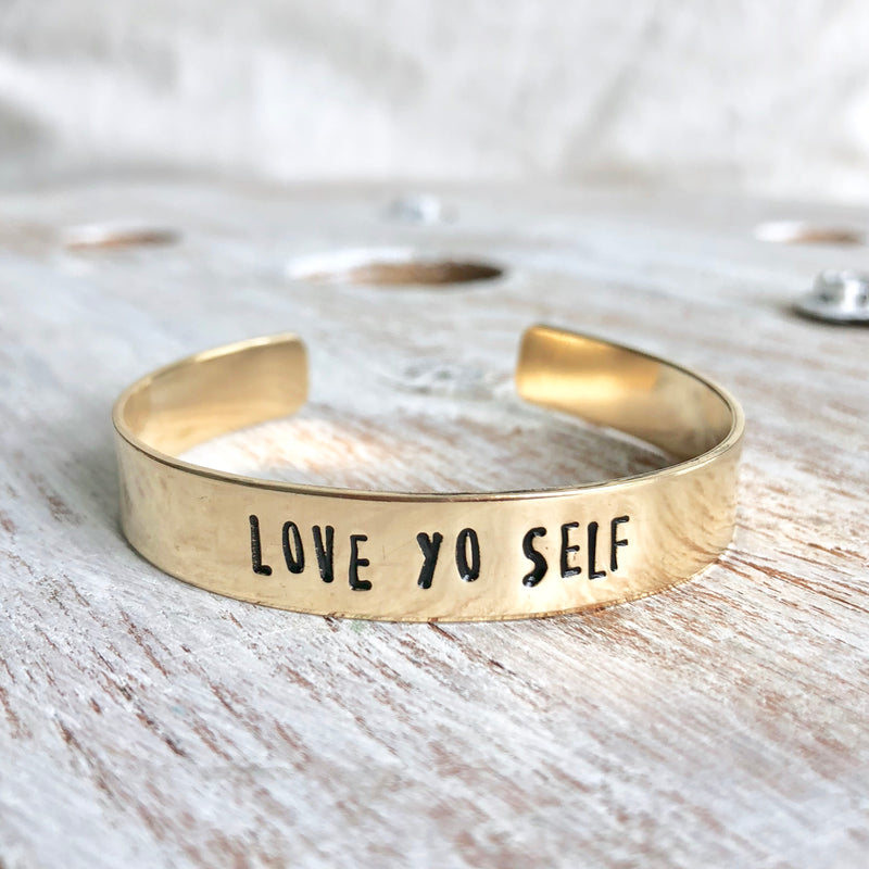 Love Yo Self Hand Stamped Bangle