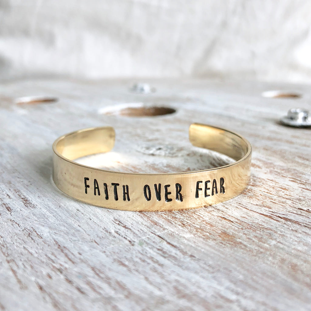 Faith Over Fear Hand Stamped Bangle - CLT Boutique