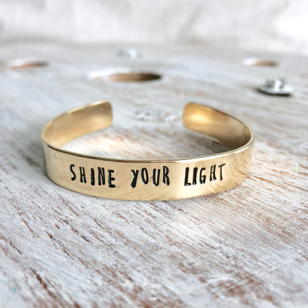 Shine Your Light Hand Stamped Bangle