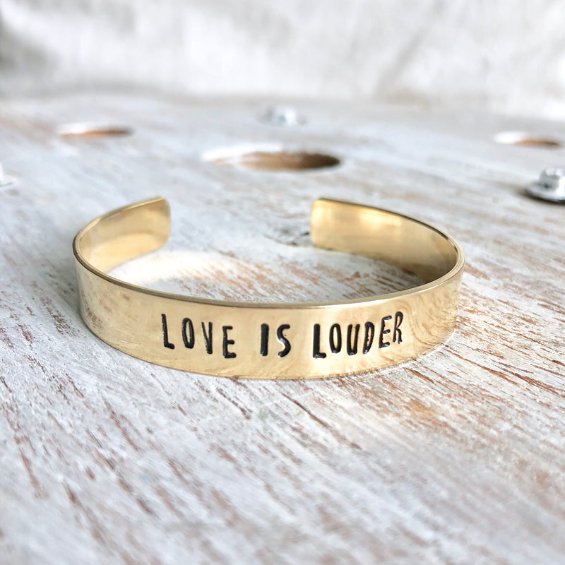 Love is Louder Hand Stamped Bangle