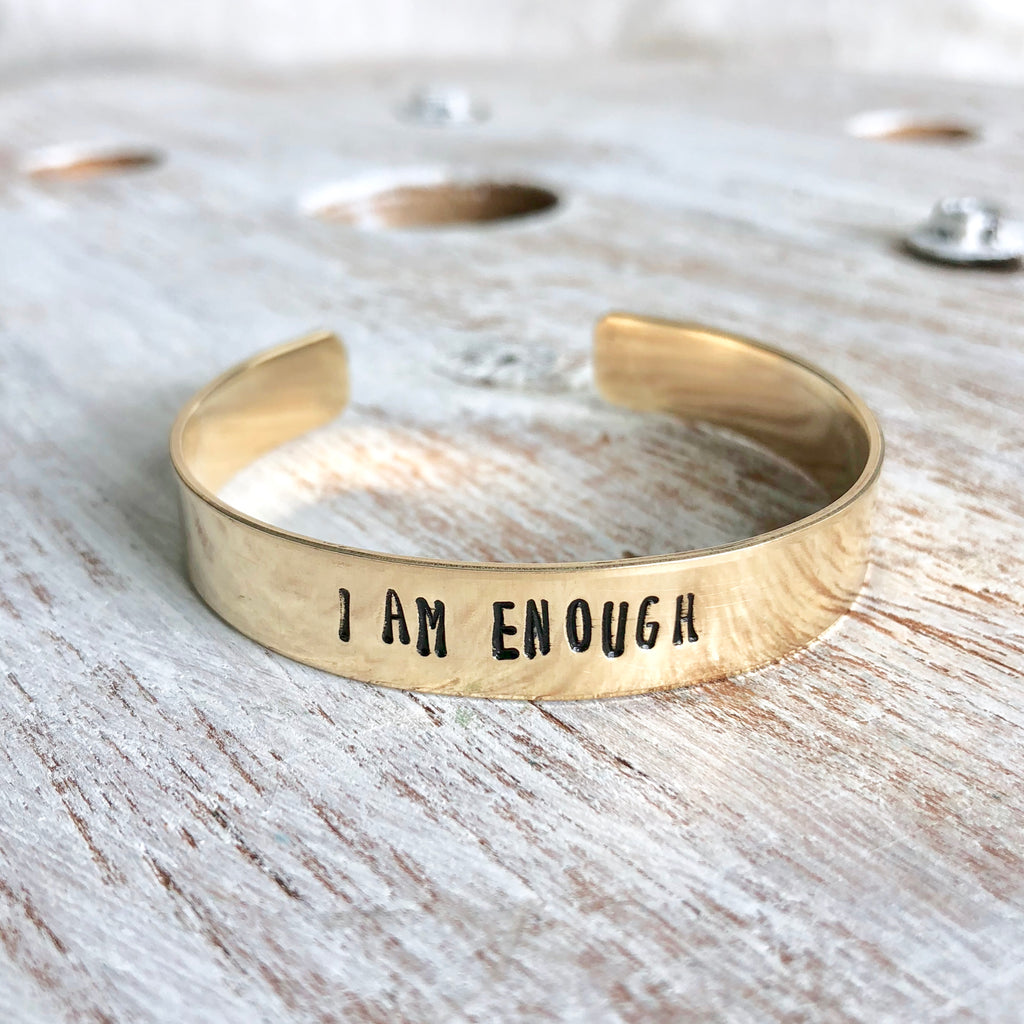 I am Enough Hand Stamped Bangle - CLT Boutique
