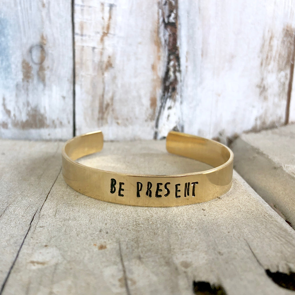 Be Present Hand Stamped Bangle - CLT Boutique