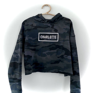 Charlotte Blackout Cropped Hoodie - CLT Boutique