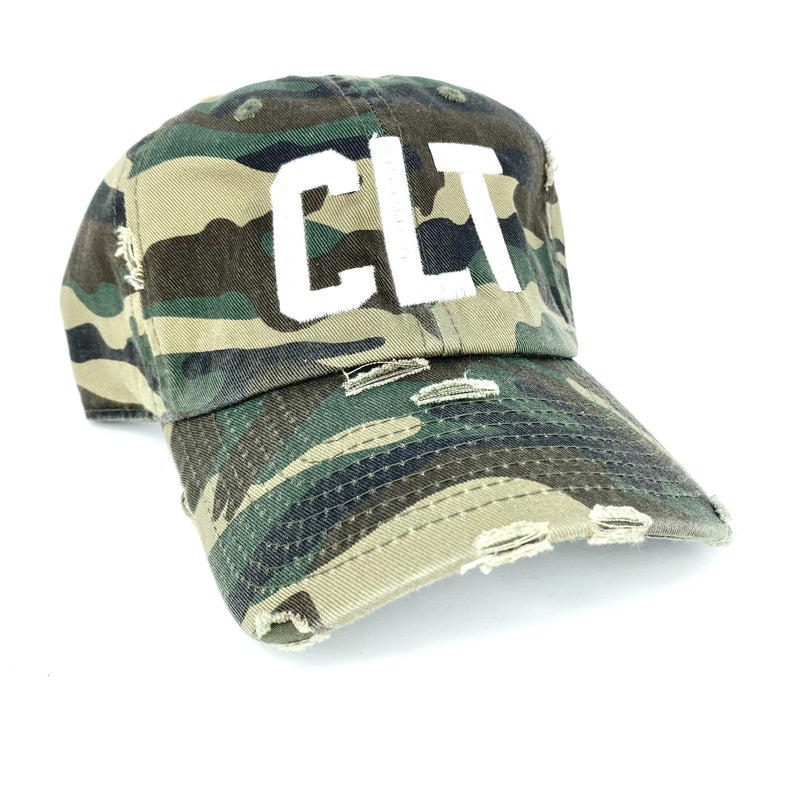 Distressed Camo CLT Hat - CLT Boutique