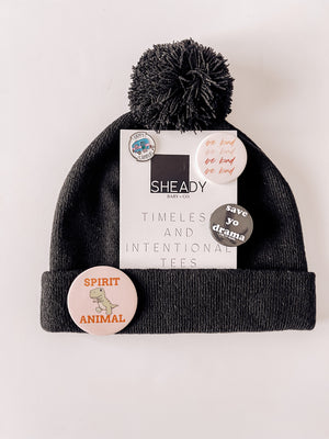 Beanie +Button Pin