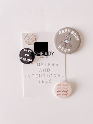 Pins - 3 Pack Button Pins + 1 Enamel Pin