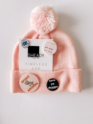 Beanie + 3 Button Pins + Enamel Pin