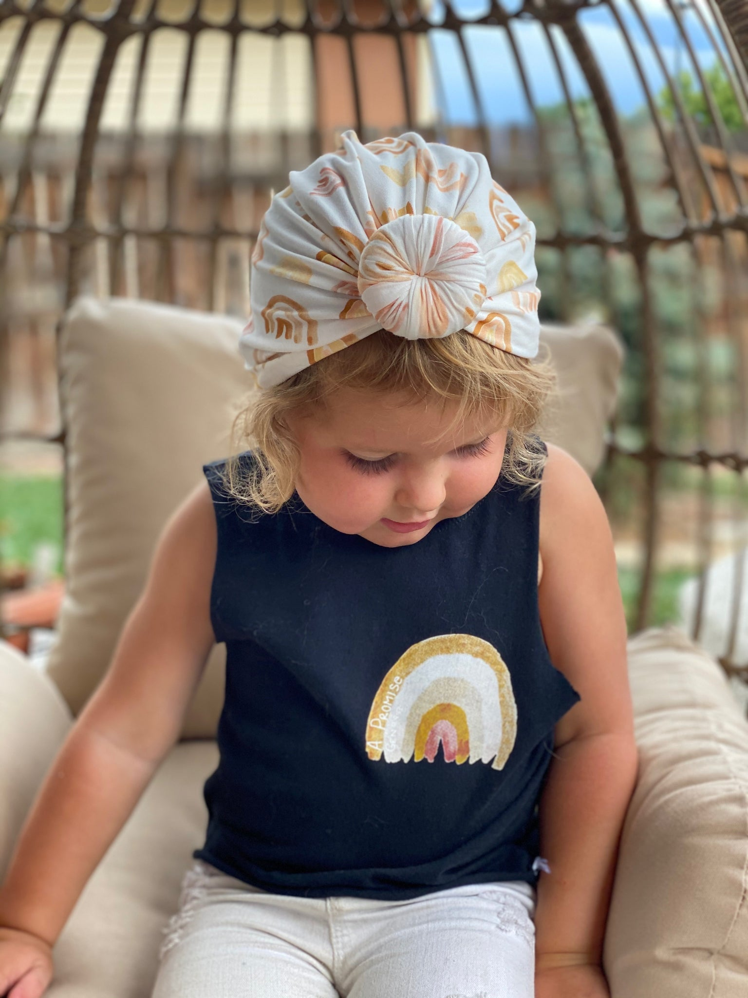 Rainbow Kids Tee & Turban Set