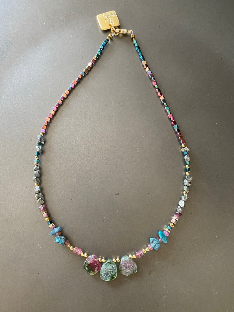 Watermelon Tourmaline with Hematite,Pyrite and Turquoise choker necklace