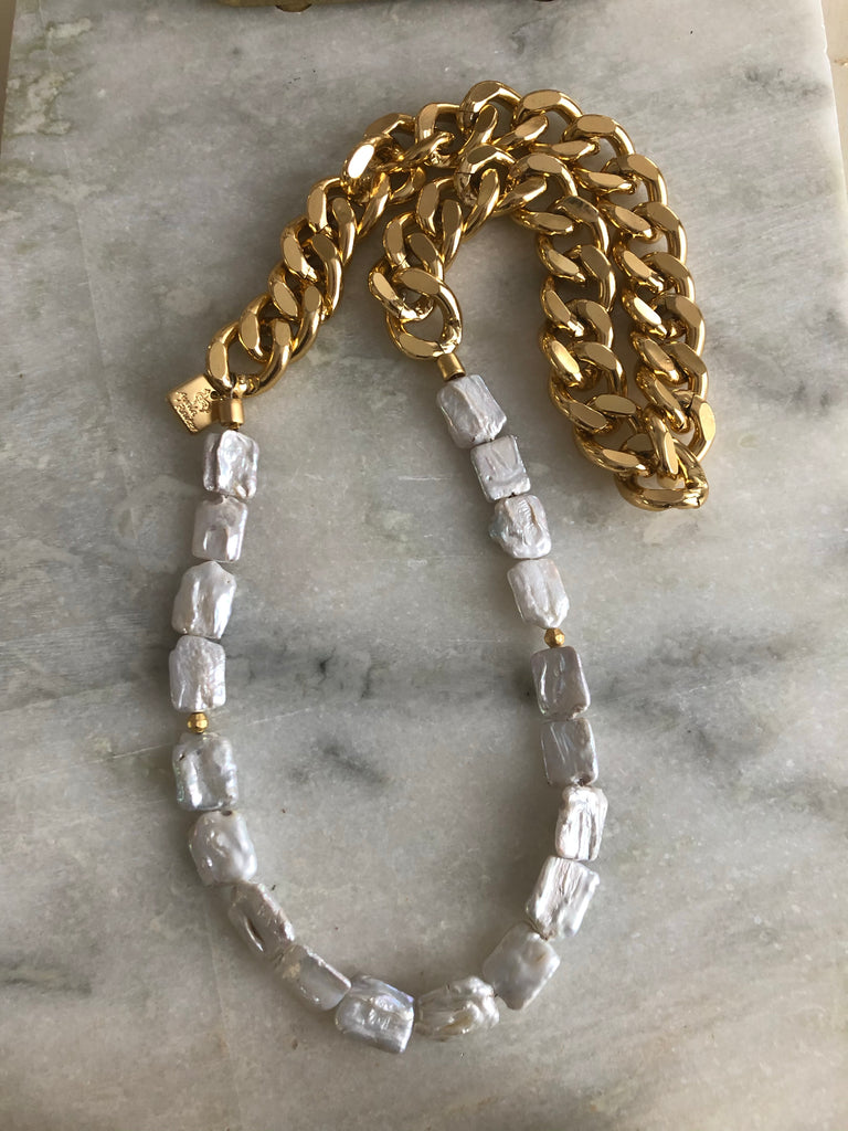 Fresh water pearls on a gold chain