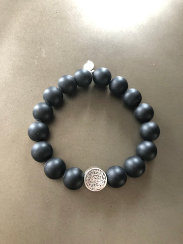 Matt Onyx bracelet for him with Sterling Silver Shema  Yisrael bead