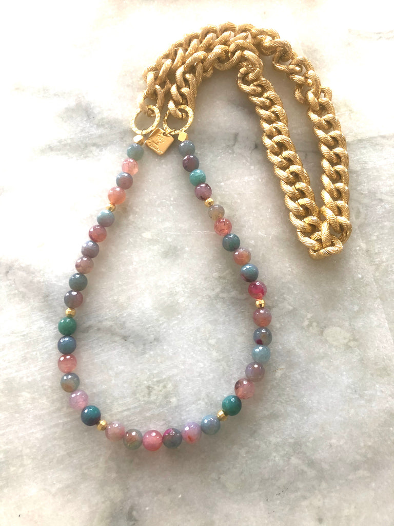 Multi colour Agate Necklace on Gold Chain