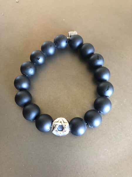 For him- Elastic Onyx bracelet with a Sterling Silver Jewish Star