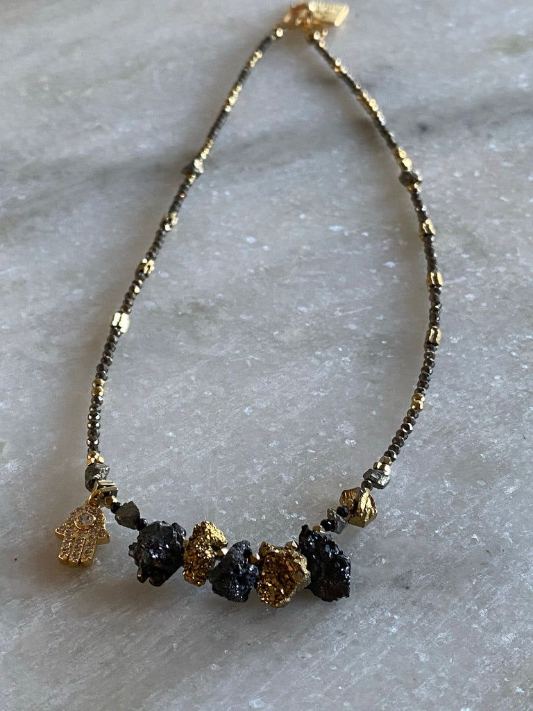 Pyrite,Hematite and Agate choker necklace with a gold hand charm
