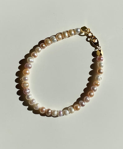 Multi-colour natural Freshwater Pearl Anklet in Gold