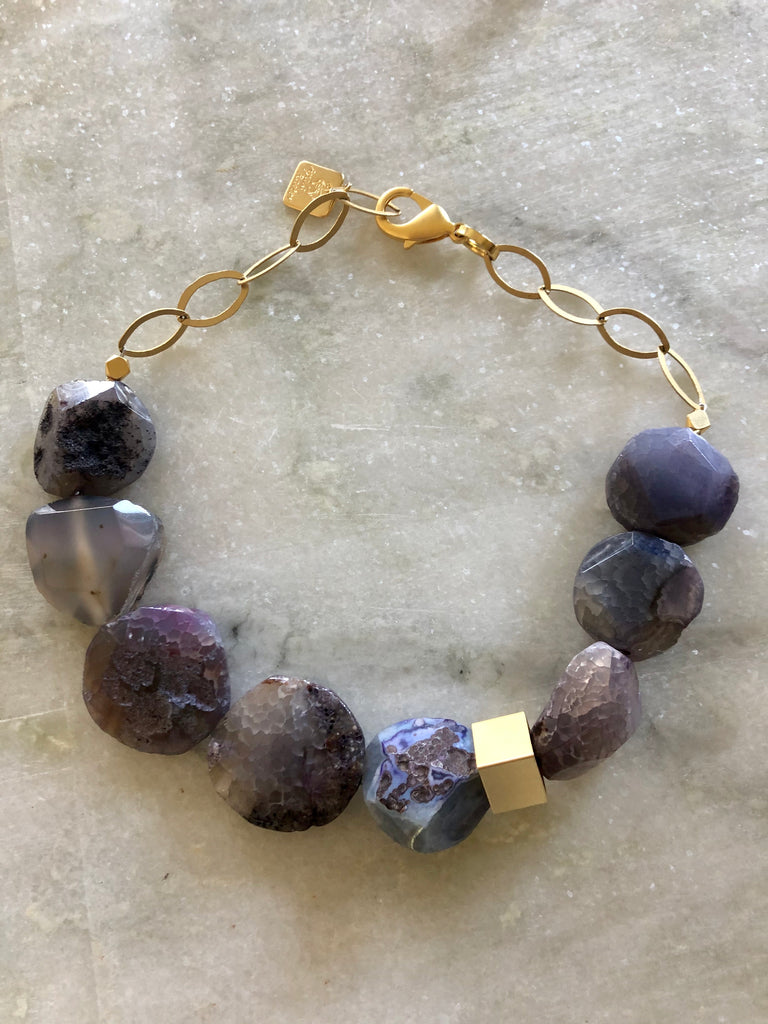 Purple Agate necklace with 24K Gold chain
