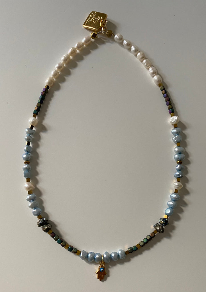 Pearls ,Pyrite and Hematite choker with a gold  Hamsa