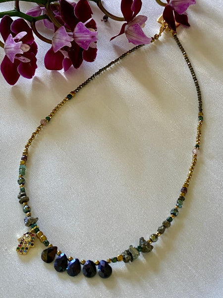 Spinal ,Hematite,Pyrite choker necklace with hand charm pendant