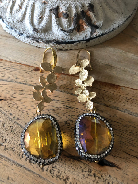 Gold Earrings with a yellow Crystal