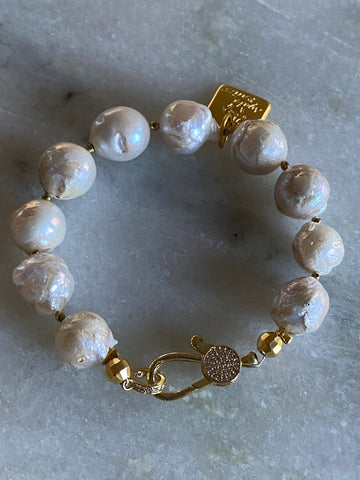 Pearl bracelet with gold  cubic zirconia clasp and Hematite beads