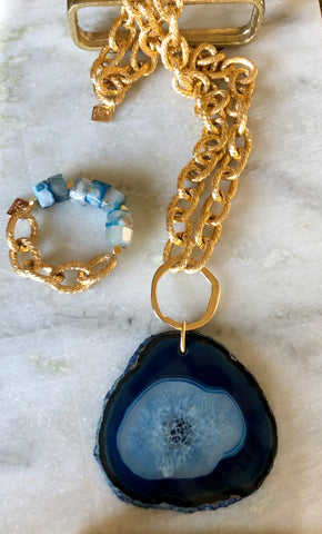 Agate necklace on gold chain