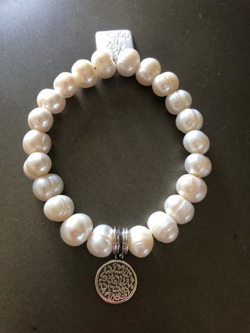 Sterling Silver Shema Israel Bracelet with Pearls