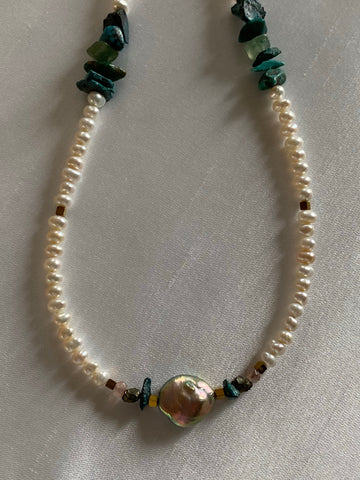 Pearl choker necklace with Turquoise and Hematite