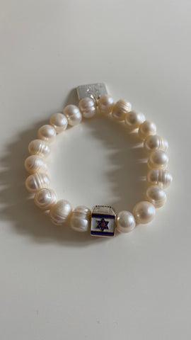 Pearl Bracelet with Star of David in Sterling  Silver