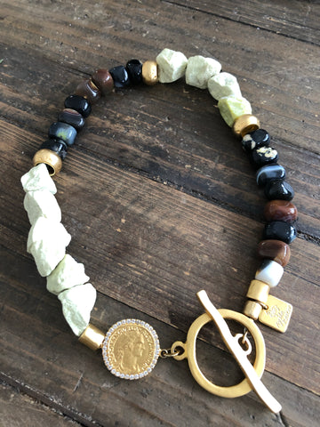 Agate necklace with semi precious stones and  gold coin