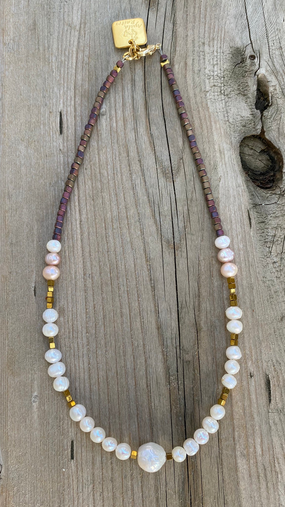 Pearl choker necklace with Gold Hematite