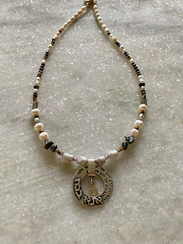 Pearls and Gems choker with a prayer Ana Becoah in Sterling Silver and 14K Gold
