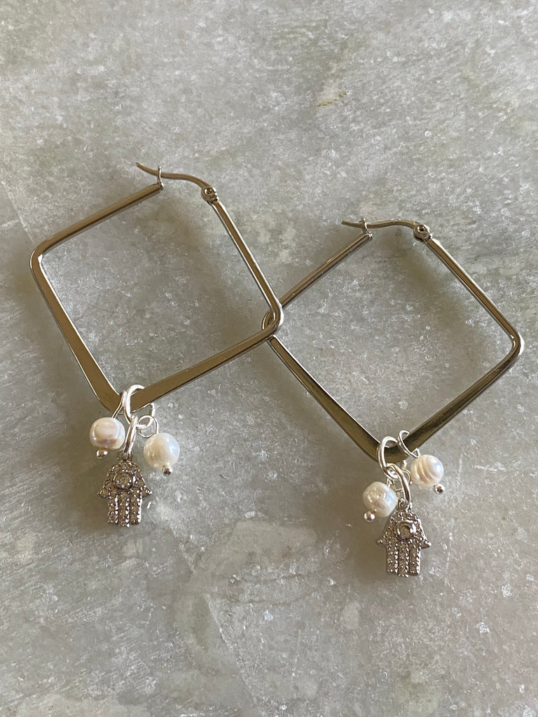 Silver earrings with Hamsa charm with crystals and pearls