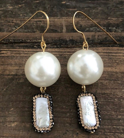 Pearls and Crystals Gold Earrings