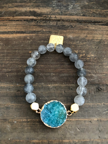 Labradorite And Druzy Quartz Bracelet with Gold