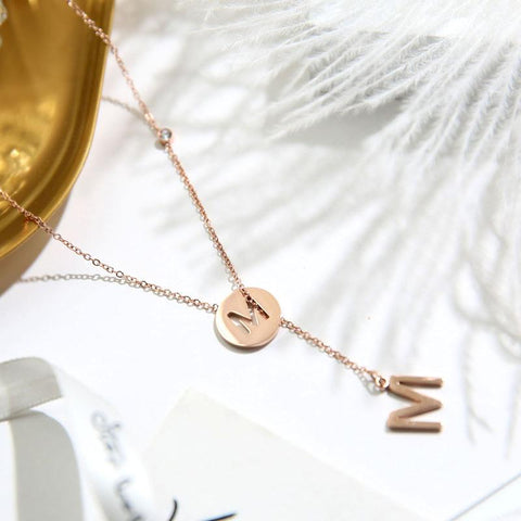 Fashion Adjusted Letters Pendant Necklace Titanium Steel Woman Jewelry