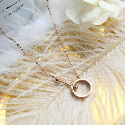 Fashion Dumbbell Round Pendant Necklace Titanium Steel Woman Jewelry