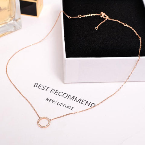 Micro Zircon Round Pendant Necklace Titanium Steel Woman Jewelry