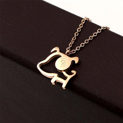 Lovely Dog Pendant Necklace Zircon InlayTitanium Steel Woman Jewelry
