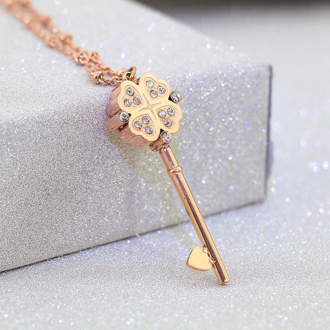 Luxury Crystal Key Necklace Stainless Steel Jewelry