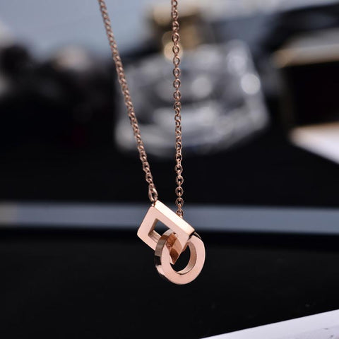 Double Circle Pendant Necklace Stainless Steel Woman Jewelry