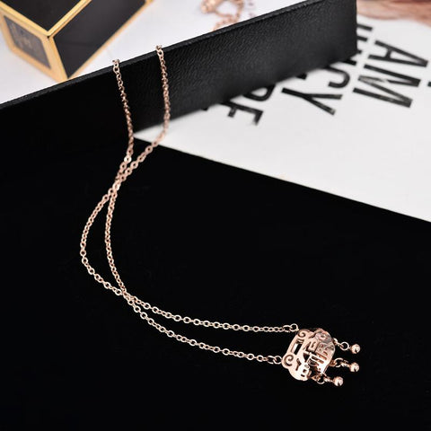 Elegant Longevity Lock Pendant Necklace for Woman Stainless Steel Jewelry