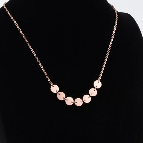 Elegant Sequins Pendant Necklace Woman Stainless Steel Jewelry